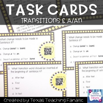 Revising and Editing Task Cards: A/An & Transition Words