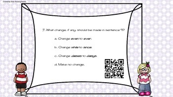 Grammar Task Cards with QR Codes Change y to i