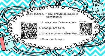 Grammar Task Cards with QR Codes (2 Sets! See Description)