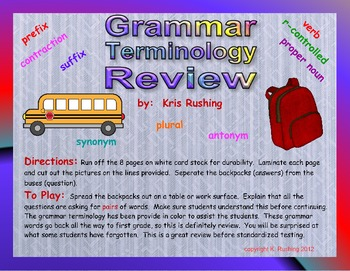 Grammar Terminology Review