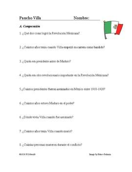 Pancho Villa Biografía - Mexican Revolution Reading and Biography + Worksheet