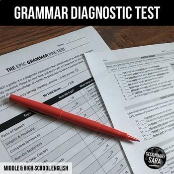Grammar Diagnostic Test (#1 of 2): Epic Pre/Post Assessment for Teens
