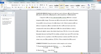 Grammar Test- Parts of Speech