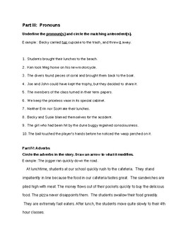 Grammar Test- Parts of Speech and More!
