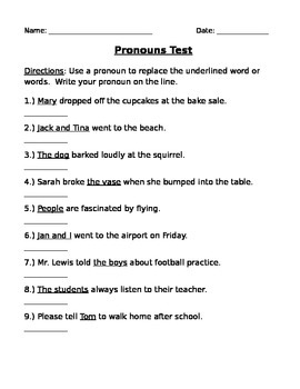 Grammar Test - Pronouns