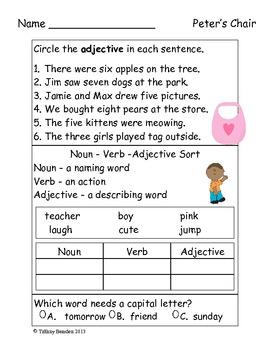 Grammar Test for Peter's Chair (Scott Foresman Reading Street)