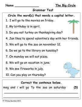 Grammar Test for The Big Circle (Scott Foresman Reading Street)