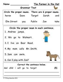 Grammar Test for The Farmer in the Hat (Scott Foresman Rea