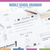 Middle School Grammar Bundle: Parts of Speech, Verbals, Sentence Structure