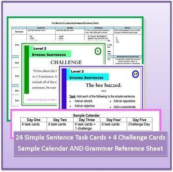 Writing Task Cards - Grammar Through Writing (Level 2)