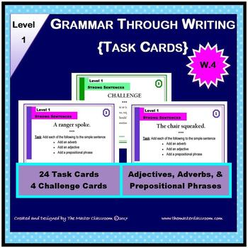 Writing Task Cards - Grammar Through Writing (Level 1)