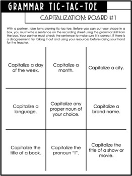 Grammar Tic-Tac-Toe - Engaging Grammar Game