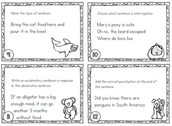Grammar Types of Sentences Task Cards