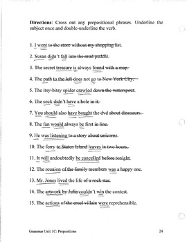 Grammar Unit 1 - Prepositions (3 Levels) ** Complete Units w/ Test, Quiz, Key **