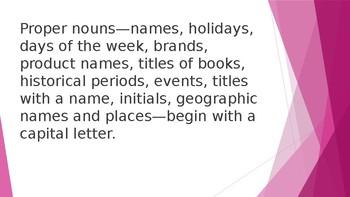 Grammar Unit 2 Week 1 Day 3 Capitalize Proper Nouns