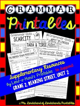 Grammar Printables to Supplement Grade 2, Reading Street, Unit 2