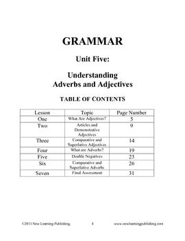 Grammar Unit Five: Understanding Adverbs and Adjectives