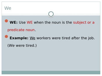 Grammar Us vs. We PowerPoint