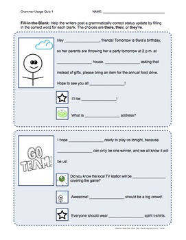 Grammar Usage: There, Their, They're No Prep Quiz & Anchor Chart