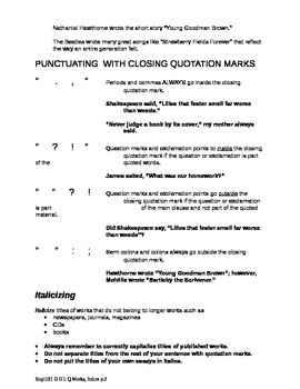 Grammar: Quotation Marks and Italics Handout