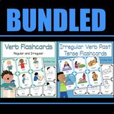 BUNDLED-Verb Flash Cards for Regular/Irregular Verbs, AND Past Tense Verbs