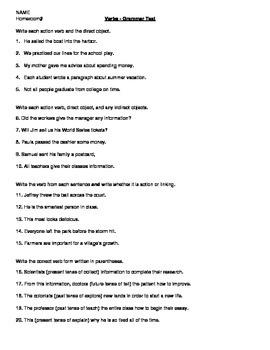 Grammar - Verb Test