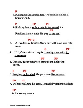 Grammar: Verbal and Prepositional Phrases Worksheet and Key