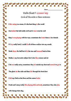 Grammar Verbs sheet 1