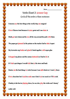 Grammar Verbs sheet 2