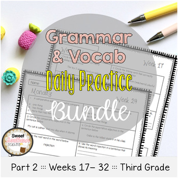 Grammar & Vocabulary Daily Practice BUNDLE PART 2 Weeks 17-32
