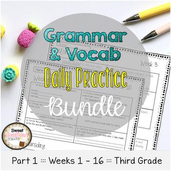 Grammar & Vocabulary Daily Practice BUNDLE PART 1 Weeks 1-16
