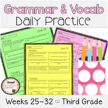 Grammar & Vocabulary Daily Practice Weeks 25-32 - Common Core Aligned