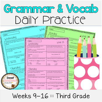 Grammar & Vocabulary Daily Practice Weeks 9-16 - Common Core Aligned