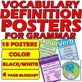 Grammar Vocabulary Definition Posters: 15 Posters, Color,