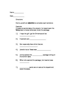 Grammar, Vocabulary and Parts of Speech Packet
