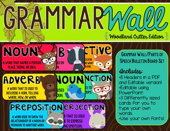 Grammar Wall Bulletin Board Set -Editable {Woodland Critters Edition}