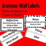 Grammar Wall Labels -- ESL, EFL -- Parts of Speech