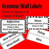 Grammar Wall Labels -- ESL, EFL -- Parts of Speech