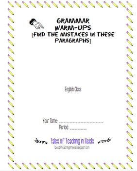 Grammar Warm Up Packet [using modern, young adult novels]