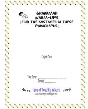 Grammar Warm Up Packet [using modern, young adult novels]