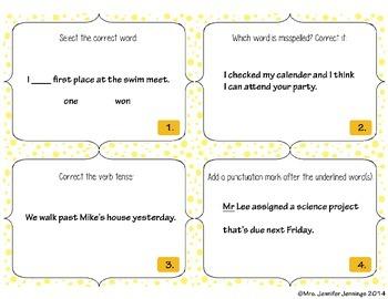 Grammar Warm-Up Task Cards - Set 2