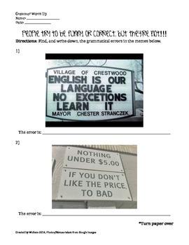 Grammar Warm Up using Memes