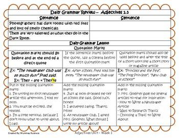 Grammar Warm-Ups & Lessons Adjectives Unit Week 1