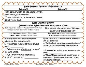Grammar Warm-Ups & Lessons Adjectives Unit Week 2