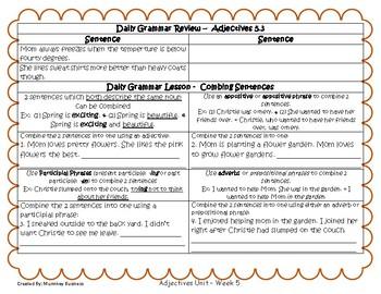 Grammar Warm-Ups & Lessons Adjectives Unit Week 5