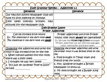 Grammar Warm-Ups & Lessons Adjectives Unit Weeks 1 - 5