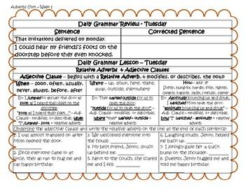 Grammar Warm-Ups & Lessons Adverbs Unit Week 1