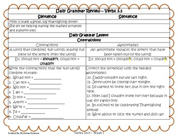 Grammar Warm-Ups & Lessons Nouns Unit Week 3