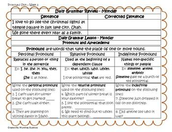 Grammar Warm-Ups & Lessons Pronouns Unit Weeks 1-5