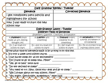 Grammar Warm-Ups & Lessons  Sentences Unit - Week 1